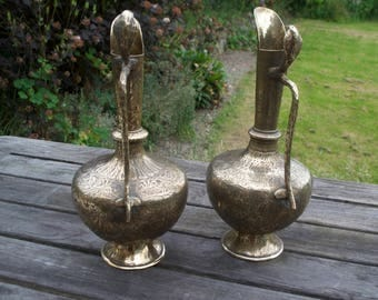 Pair of Antique Burmese Cobra Handle Ewers Jugs Pitchers Solid Brass Hand Etched