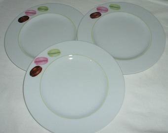 6 macarons dessert plates hand painted