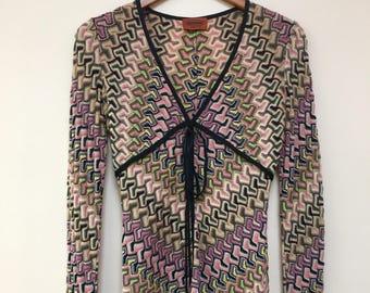 Missoni vintage 1980's pink green purple yellow zigzag wool  Italy SWEATER