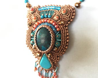 Bead Embroidery pendant necklace:  The Copper Orange Turquoise Blend.  Southwestern. OOAK