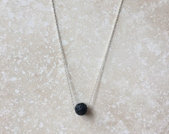 Lava + Sterling Silver/Gold Essential Oil Diffuser Necklace - Floating, Small