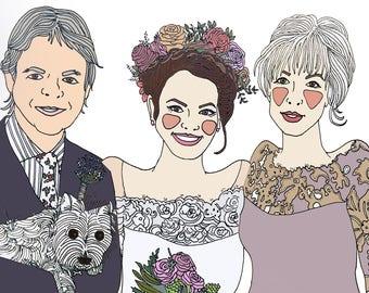 Bride & family illustration