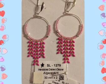 Silver chain spike earrings