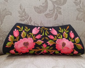 Embroidered clutch floral clutch embroidered evening bag India clutch beige clutch coral roses gifts for her