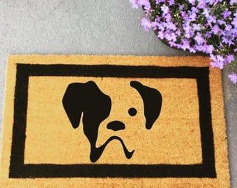 Boxer dog silhouette doormat
