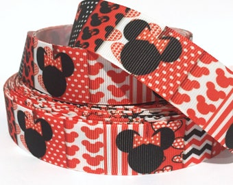 """Grosgrain Ribbon 7/8"""" Minnie Mouse - MN1 - Dots - Stripe - Printed -  By the Yard USA Seller"""