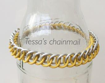Yellow bracelet, yellow  rubber bracelet, half persian bracelet, yellow chainmaille half persian, stretchy bracelet, Tessa's chainmail