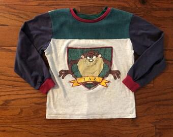 Vintage 1995 Looney Tunes Taz long sleeved kids shirt
