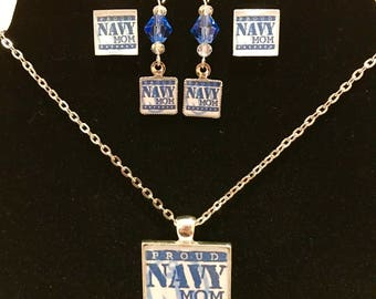Navy Mom Jewelry Set