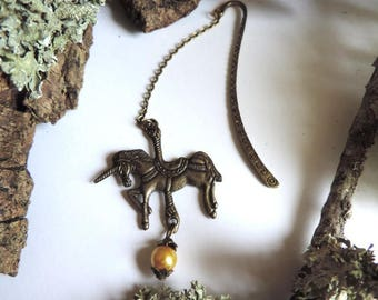 Bookmarks bronze Unicorn and Golden glass bead.