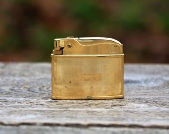 Ronson Adonis gold lighter Collectible lighter vintage Gold tone Cigarette lighter Antique lighter Gold gift for smoker Used lighter Retro