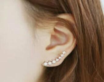 Rhinestone Ear Climber Earring - Rhinestone Earring - Dainty Earring - Simple Earring - Climber Earring - Cuff Earring