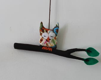Mobile 1 owls on branch, child's room decor