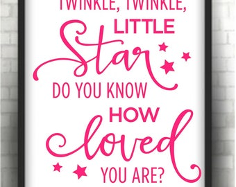 Twinkle twinkle little star  pink nursery print   * Printable 8 x 10  print   Instant Download /  1 j peg