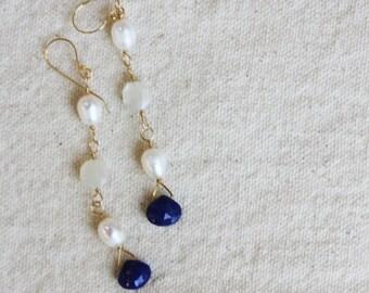 Lapis, Pearl and Moonstone earrings