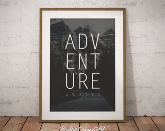 Adventure Awaits, Adventure Awaits Print Art, Adventure Awaits Decor, Adventure Awaits Printable, Art Print, Wall Art, Adventure Nursery Art