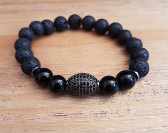 Mixed bracelet, Elegant-20, lava, onyx and black cubic zirconia stone.