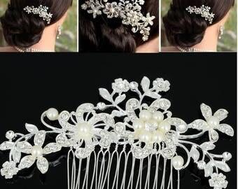 Bridal Hair comb, floral wedding headpiece, white and silver comb, Quartz crystal , pearls , Bridal Headpiece, Crystal and Pearl