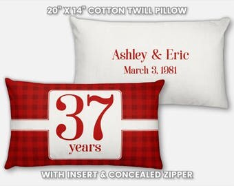 37th Anniversary Gift for Men 37 Year for Women Present Idea Him Her Gift Wife Husband Wedding Couple Pillow Personalized Parents Mom Dad