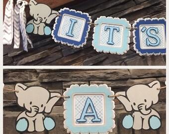 Elephant boy baby shower decoration, baby shower decorations elephant theme, elephant baby shower banner decoration, blue elephant garland