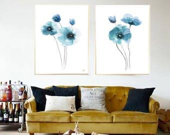 Teal Poppy watercolor Poppy Teal poppy Blue painting Poppy watercolor painting Blue Poppy poster Poppy Set 2 Poppies Poppy flower print