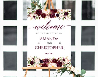 Welcome Wedding Sign, Welcome Wedding Printable, Wedding Sign, Burgundy Sign, Wedding Poster Board, DIY, Template, PDF Instant Download