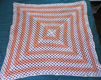 Handmade crochet cream-sickle orange & white granny square blanket/afghan/throw w/ multi-colored pastel border - ready to ship