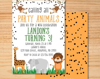 Party Animal Invitation, Calling All Party Animals, Zoo Birthday Invitation, Party Animal Birthday, Zoo Birthday, Safari Birthday Invite