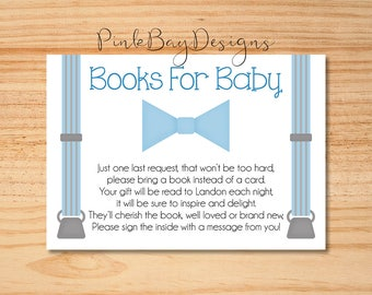 Books For Baby Insert, Little Man Books For Baby, Bow Tie Baby Shower, Blue And Grey Books For Baby Card, Little Man Baby Shower