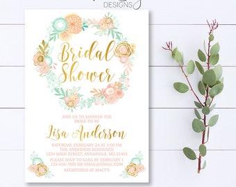 Floral Bridal Shower Invitation, Pink And Mint Bridal Shower Invitation, Floral Wreath Shower Invitation, Floral Bridal Shower, Bridal