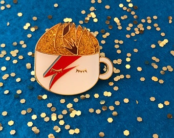 "David Bowie  1.5"" Enamel Pin - Ziggy Stardust - A Latte Insane - Glam Coffee Mug - Tea - Rock - Aladin Sane - Lightining Bolt"
