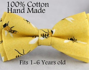 Boy Kids Baby Page Boy 100% Cotton YELLOW BEES Bow Tie Bowtie Party Wedding 1-6 Years Old