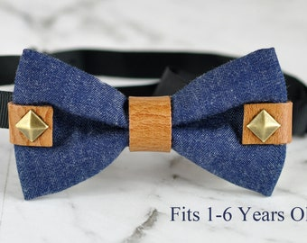 Boy Kids Baby infant Children Blue Jeans Denim Tan Rivet Rivets Bowtie Bow Tie Wedding Party 1-6 Years Old