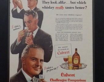 Clavert Reserve Blended Whiskey, Vintage Alcohol Ad, 1951, Calvert Challenge, Man Cave Decor, Bar Decor, Ephemera