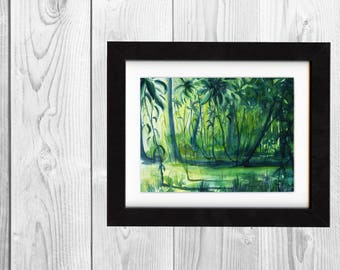 print, forest print, art print, landscape painting, painting, art, wall art prints, decor, nature art, landscape art print, saltwatercolors