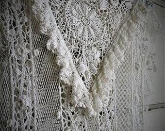 SUMMER SALE Hand Crocheted Wedding Dress / Victorian Inspired Neckline / Boho Hippie Gypsy Style