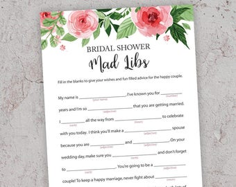 Bridal Mad Libs, Advice for the Bride, Bridal Shower Games, Bachelorette Party Games, Bridal Advice, Hens Party, Floral Watercolor, J003