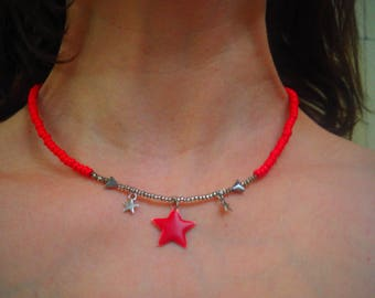 Red and Silver Star necklace