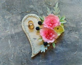 Wedding ring bearer Wedding ring box Shabby chic wedding decor Ring bearer pillow Wedding ring pillow Wedding ring holder Flower ring bearer
