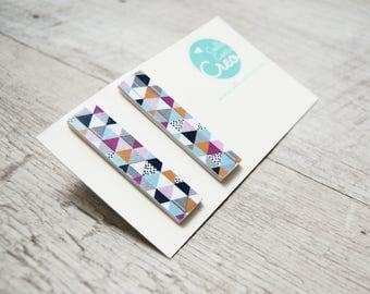 lobe paper earrings, white with geometric texture, handmade, ecofriendly