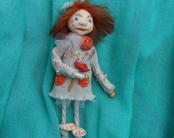 Art doll brooch OOAK art doll Primitive brooch Primitive doll brooch miniature doll brooch Handmade doll brooch