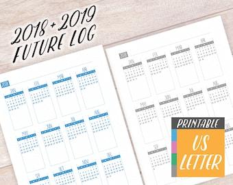 2018-2019 Mini Calendars, Printable Binder Insert, Letter Size Planner Agenda, Future Log Monthly Calendar, Dot Grid Bullet Journal Download