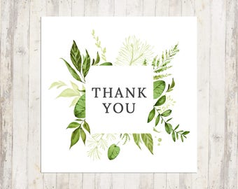 """Thank you Note, Personalized Thank You Card, Thank you, Watercolor Design, 3x3"""" Thank you, Double-Sided"""