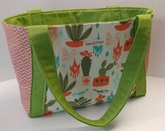 Beach tote, sturdy bag, travel bag, day trip tote, canvas bag, Cactus print, Cacti, Southwestern, Chevron, lime green, shoulder bag