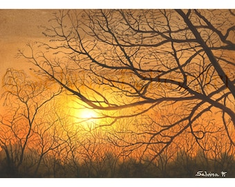 """Prints from my original watercolor painting """"Autumn Sunset"""" sun, bare trees, autumn,"""
