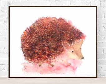 Original Hedgehog painting-Hedgehog watercolor-Original water color-colorful art-original art gift-nursery art-ZenWatercolors-kitchen art-animal art