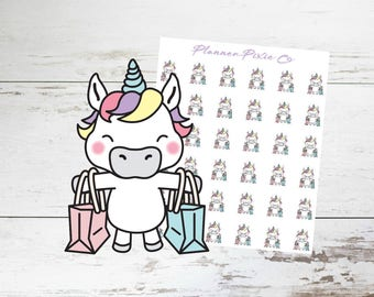Unicorn Planner Stickers // Shopping Spree // Girls Day