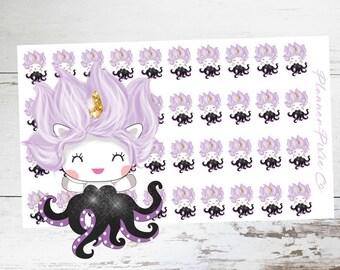 Suki the Unicorn // Planner Stickers // Unicorn Planner Stickers // Villain // Octopus // Mermaid // Princess