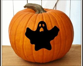Ghost Halloween Pumpkin Decals ~ Jack-o-Lantern Decal ~ Halloween Door or Window Decal ~ Pumpkin Sticker ~ Easy to Apply Decals ~ Boo