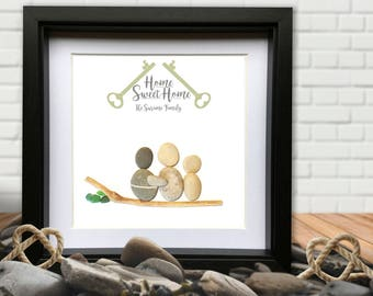Sweet Home - Personalised Pebble Gift. Pebble and Sea Glass Picture. Framed. Great House Warming. Add more people?